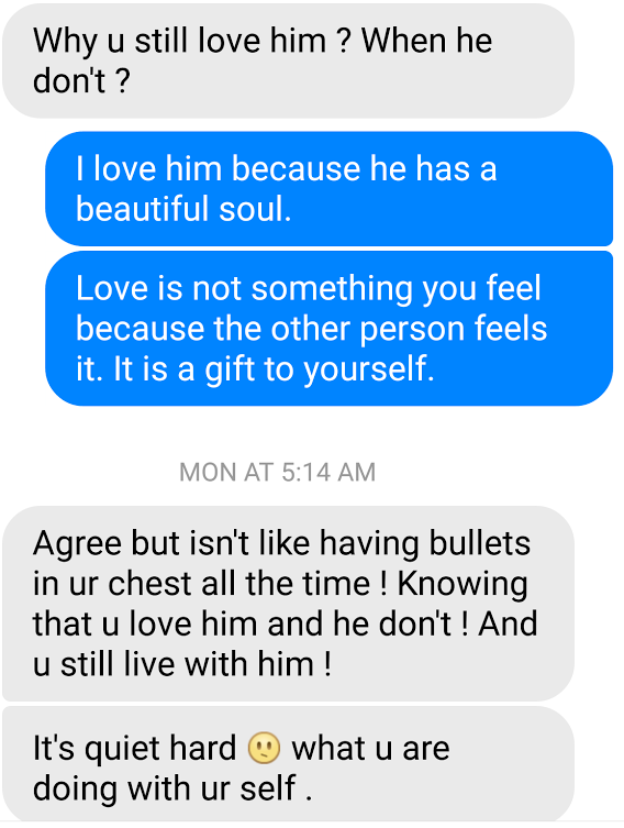 You love him but he doesn t love you